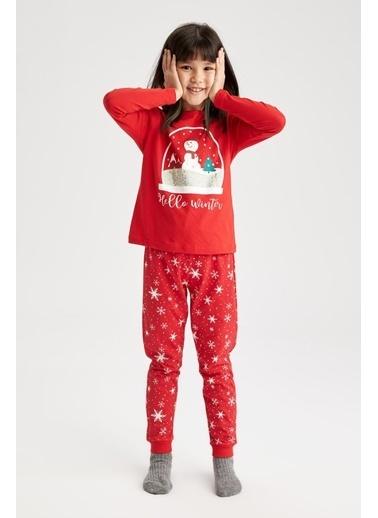 DeFacto Kız Çocuk Yeni Yıl Temalı Pijama Takım Kırmızı
